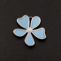 Подвеска Цветок Голубая эмаль; Родий
