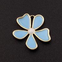Подвеска Цветок Голубая эмаль; цвет золото