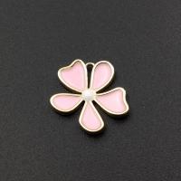 Подвеска Цветок Розовая эмаль; цвет золото