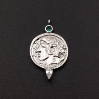 Подвеска Медальон с изумрудным фианитом, цвет платина
