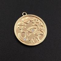 Медальон Символы с фианитами; цвет золото