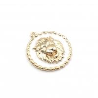 Подвеска Лев с белой эмалью, 25мм; цвет золото