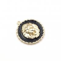 Подвеска Лев с Чёрной эмалью; 25мм цвет золото