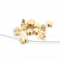 10 бусин Клевер 6мм; цвет золото