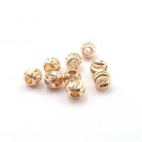 10 бусин Шар-Спираль 4.5мм; цвет золото