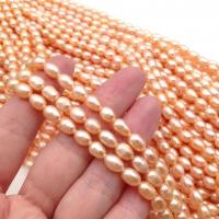 Жемчуг формы Рис, 6.5-8*5мм; Розовое Золото, нить 37см