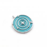 Медальон Солнечная система с Голубой эмалью; платина