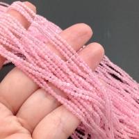 Натуральный Розовый Кварц, гранёный шар 2мм; нить 38см