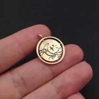 Медальон круглый 2-х сторонний Лунная ночь; цвет золото