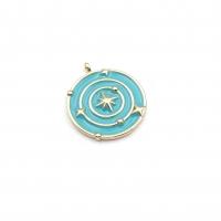 Медальон Солнечная система с Голубой эмалью; цвет золото