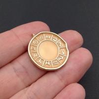 Медальон Знаки Зодиака с Лососевой эмалью; цвет золото