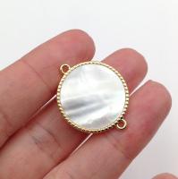 Коннектор 2-хсторонний Крупный, ВИТОЙ, Перламутр Белый 22мм; цвет золото