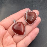 Подвеска Сердце Красный Агат  #10, в обрамлении цвет платина