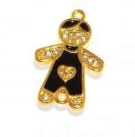 Коннектор Мальчик с чёрной Эмалью; цвет золото