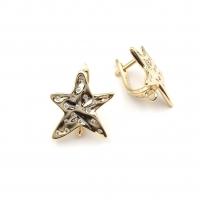Швензы Морская звезда Мятая с фианитами; цвет золото