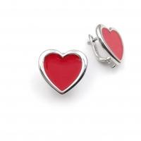 Швензы Сердце с красной эмалью; родий