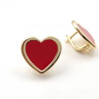 Швензы Сердце с красной эмалью; цвет золото