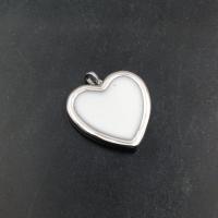 Подвеска Сердце 20мм с Белой эмалью;  родий