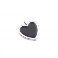 Подвеска Сердце 20мм с чёрной эмалью;  родий