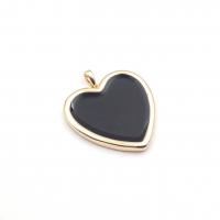 Подвеска Сердце 25мм с чёрной эмалью;  цвет золото