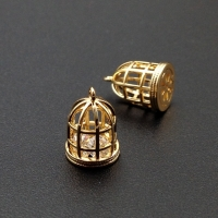 Подвеска Золотая клетка с фианитом внутри, 13*9мм, цвет золото