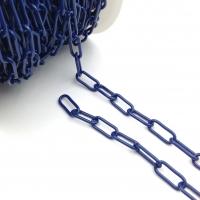 Цепь овальное звено 16*7мм; Синяя эмаль, 50см