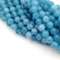 Кварц голубой, шар гладкий 6мм; нить 38см