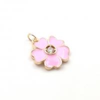 Подвеска Цветок 18мм с фианитом и  Розовой эмалью; цвет золото