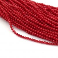 Коралл Красный, шар Гранёный 2мм, полная нить 38см