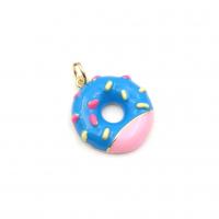 Подвеска Пончик с Голубой эмалью, цвет золото