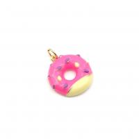 Подвеска Пончик с Розовой эмалью, цвет золото