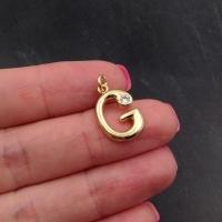 "Подвеска Буква ""G"" с фианитами; цвет золото"