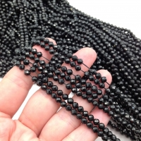Чёрная Шпинель, ювелирной огранки шар 4мм; нить 38см