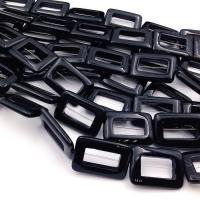 Агат чёрный Рамка Прямоугольник 30*40мм, 1 бусина