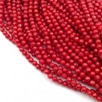 Коралл Красный шар гранёный 3мм; нить 38см