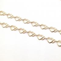 Цепочка из Латуни 2 сердца; цвет золото; 50см