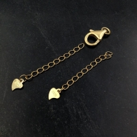 Удлинительная Цепочка из позолоченного Серебра; 3см+сердечко