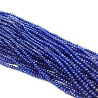 Халцедон гранёный Рондель, 4*2мм, 120 бусин, цвет синий Сапфир