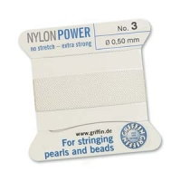 Griffin NylonPower № 3=0.50мм, БЕЛАЯ нить с иглой