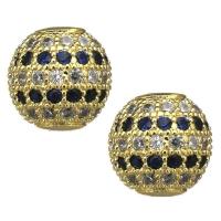 Шар с прозрачными и Синими Фианитами, цвет золото