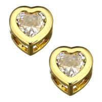 Бусина Сердце с 1 Фианитом, 9мм, цвет золото