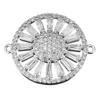 Коннектор 25*20мм Ромашка-кристаллы, цвет платина