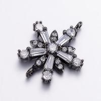 Коннектор Цветок-Снежинка с крупными фианитами, 15,5*20мм, цвет чёрный