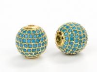 Шар с матовыми Голубыми фианитами 10мм, цвет золото