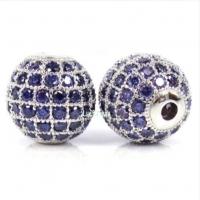Шар с сине-фиолетовыми Фианитами, 10мм, цвет платина