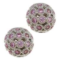 Шар ажурное плетение с Розовыми Фианитами, 8мм, цвет платина