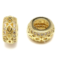 Бусина- Рондель с овалами, цвет золото