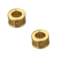 Рондель 5*8 2-х рядная инкрустация прозрачными фианитами, цвет золото