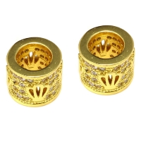 Бусина-бочонок с Короной инкрустированная , цвет золото